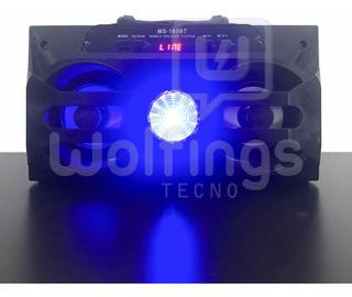 Parlante Portatil Bluetooth Ms-183 Bt Luces Radio Fm Usb Aux