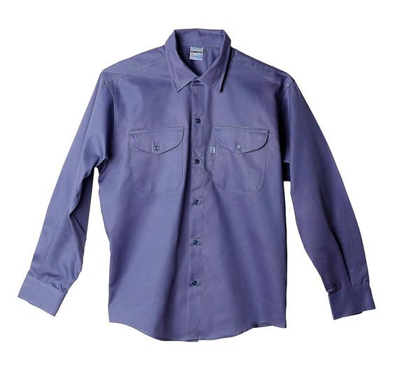 Camisa De Trabajo Ombu, Color Azulino Talle 40