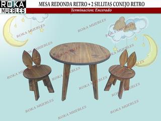 Mesa Redonda +2 Sillita Conejo Retro Encerado Roka