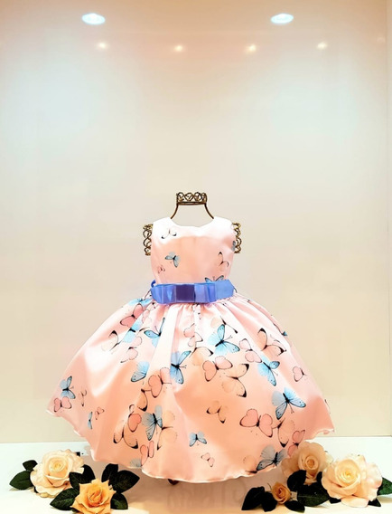 Vestido Infantil Princesa Floral Luxo Festa Promoção