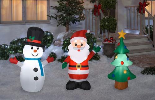 Decoración Inflable De Navidad, Set De 3 Inflables, 1.20 M