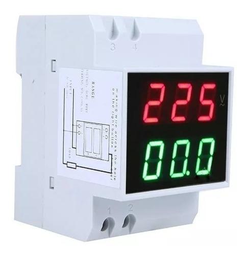 Imagen 1 de 2 de Voltimetro Amperimetro Digital Para Riel Din Zurich Tablero