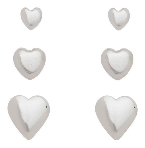 3 Brinco Feminino Barato Coração Prata 925 Trio