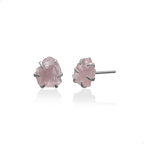 Brinco Quartzo Rosa Natural Prata 925 India 21921410