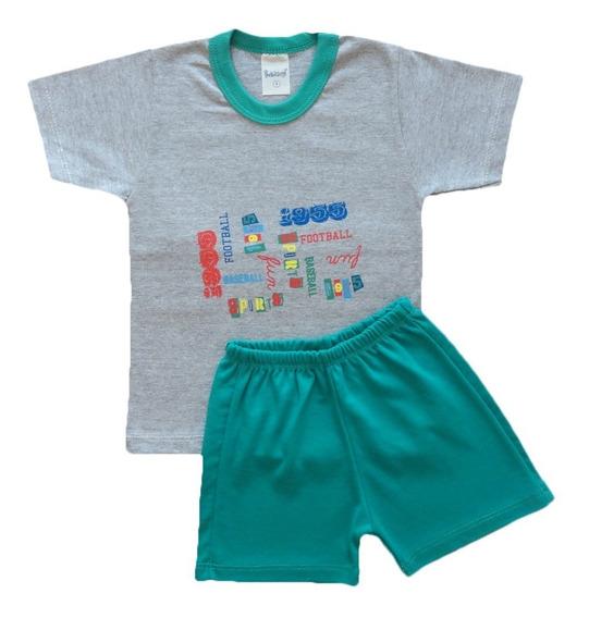 Conjunto Shorts E Camiseta Bebê Menino 12 A 18 Meses Algodão