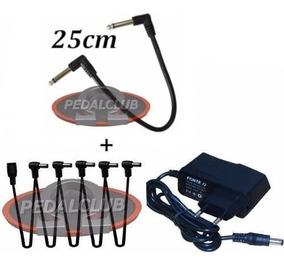 Kit 1 Fonte 5 Pedais Extensão L + 1 Cabo Pedal 25cm