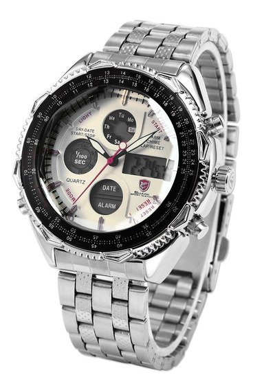 Relógio Shark Militar Branco - Sh109 Inox ** Natal
