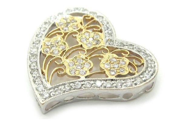 Joianete E9018-10103 Pingente Coração Ouro Pedras Branca