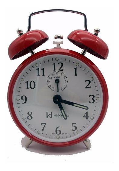 Relógio Despertador Antigo A Corda Retrô Aço Eurora Mecanico