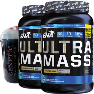 Rápido Ganador De Peso Ultra Mass Ena 3 Kilos + Vaso Shaker Genetic