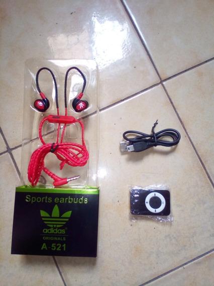 Reproductor Mini Mp3 Con Audífonos adidas.