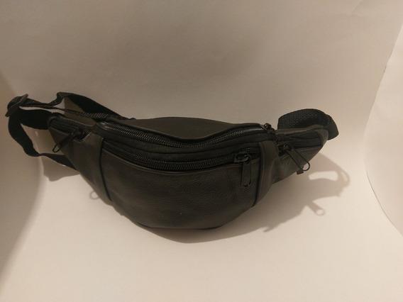 Cangurera De Piel K-40 Color Negro 5 Cierres Envio Gratis
