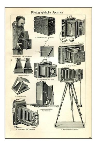 Poster Tela Cámaras Fotográficas Antiguoas 1900 74 X 50