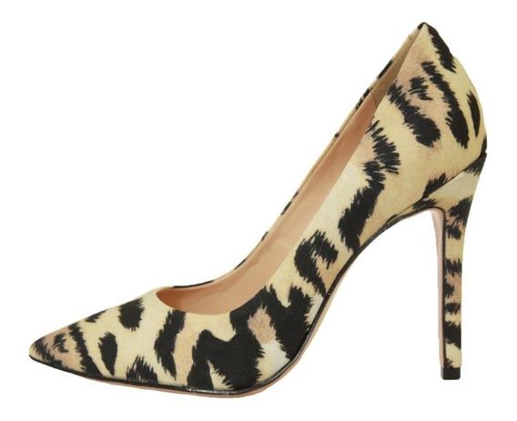 Scarpin Onça Onca Scarpin Salto Médio Sapato Com Bico Fino Promoção Sapato Estampa Onça Social Elegante Para Festa