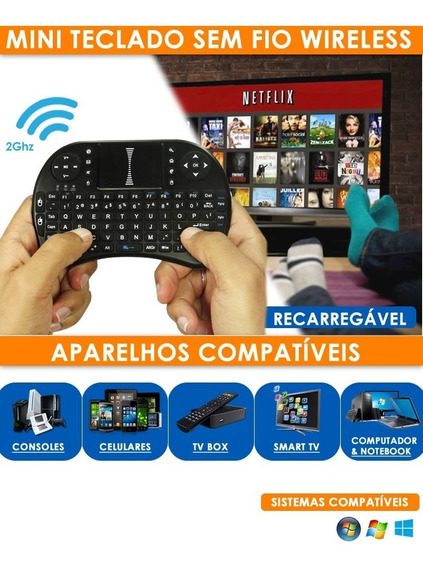 Kit Controle Joystick Usb Jogos +teclado Touch P/ Smart Tv