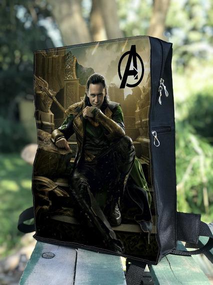 Mochila Avengers Iron Man, America, Hombre Araña, Notebook