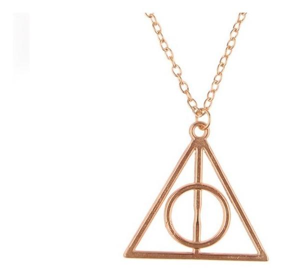 Colar Relíquias Da Morte Dourado Harry Potter