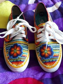 Tenis Vans Diseño Personalizado Arte Huichol(chaquira)