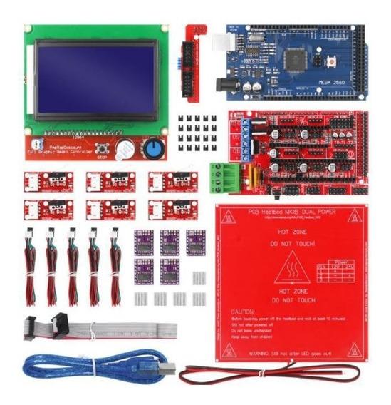 Kit De Impressora 3d Mega 2560 R3 + Ramps 1.4 + Mesa