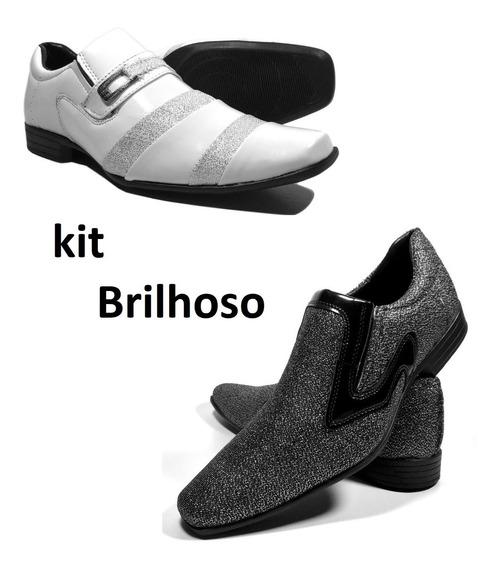 Sapato Social Masculino Branco E Brilhoso Kit 2 Pares Barato