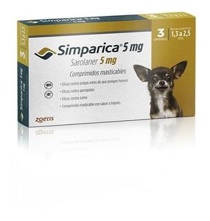 Simparica Antiparasitario 3 Comp 1,3 - 2,5 Kg +duración Tps