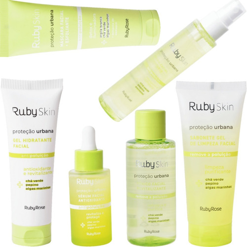 Imagem 1 de 10 de Combo Skincare Linha Facial Proteção Urbana Vegano Ruby Rose