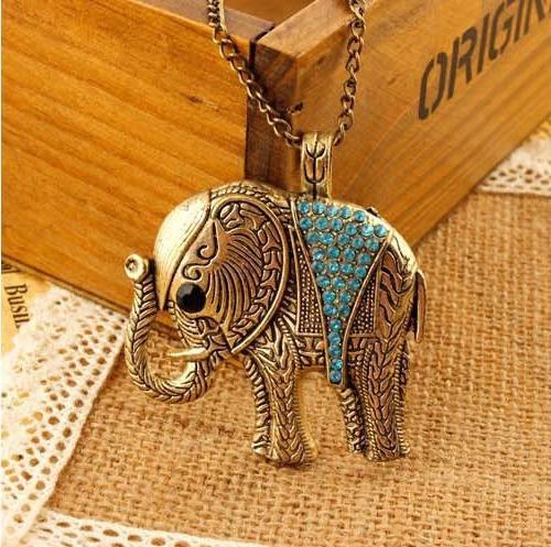Colar Cordão Pingente Elefante Vintage Strass Azul