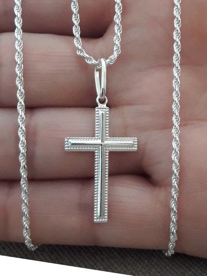 Crucifixo Prata Pura 925 Com Cordão Baiano 80cm + Brinde !!!