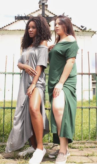 Vestido Feminino Longo Com Fendas Laterais E Bolsos