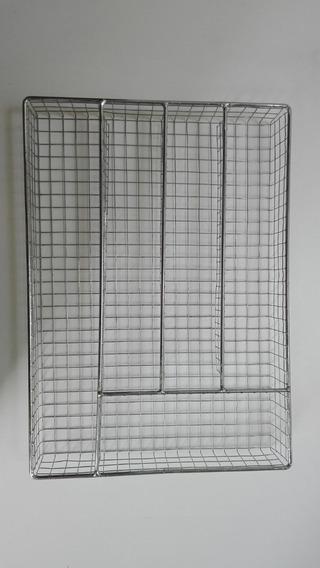 Organizador De Cubiertos Metálico De Alambre Cromado 25 X 36
