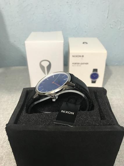 Relógio Nixon Porter Leather Azul (original, Novo Na Caixa)