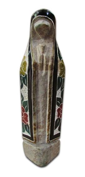 Santa Nossa Senhora Decorada Em Pedra Sabão Exclusiva