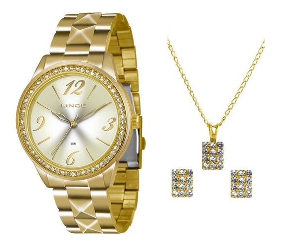 Kit Relógio Fem Lince Pulseira Aço Inox 30m Lrg4343l-ku21c2k