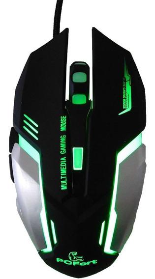 Mouse Gamer Pc Fort Usb Am-9882 Preto E Cinza Com Rgb