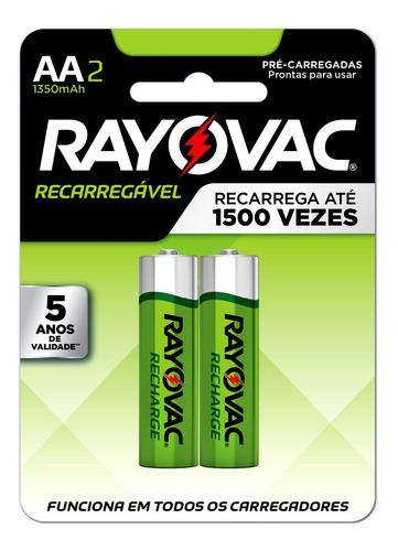 Imagem 1 de 5 de 02 Pilhas Aa Recarregável 1350mah Rayovac 1 Cart C/ 2 Unids