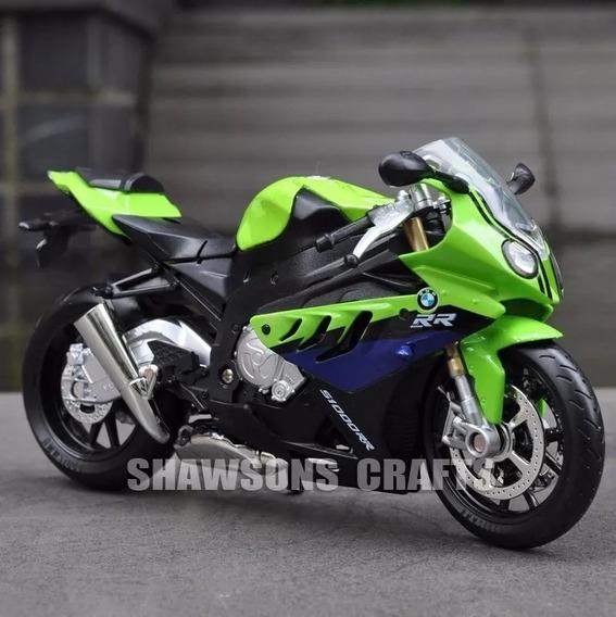 Moto Diecast Bmw S1000rr Miniatura Coleção 1:12 Orig. Verde