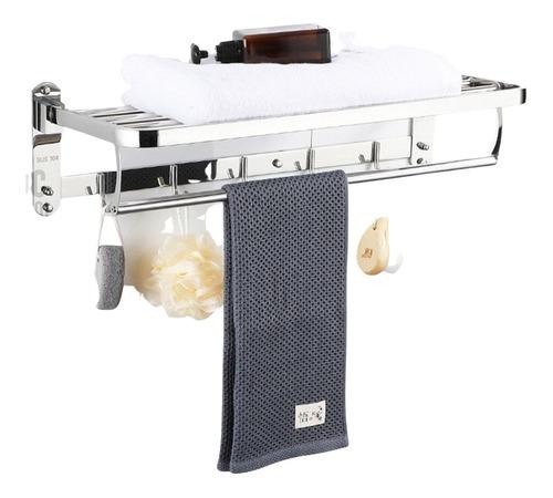 Organizador Toallas Triple Barra Con Percheros Acero Inox Hc