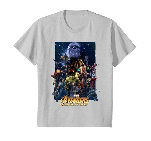 Camiseta Avengers Infinity War Team Marvel Gris Claro N