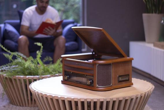 Vitrola Toca Discos Original Bt Cd Usb Rádio K7 Grava Obavintage Plus
