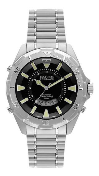 Relógio Technos Skydiver Prata Grafeno Grande T205fm/1p
