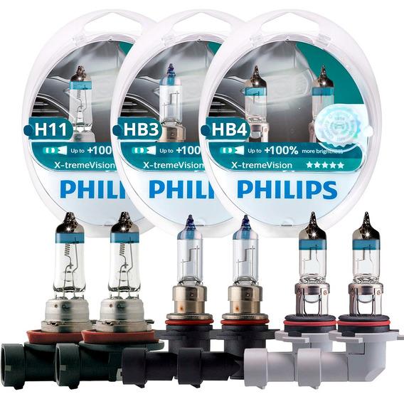 Kit Lampada Philips Xtreme Vision H11 + Hb3 + Hb4 3400k 100%