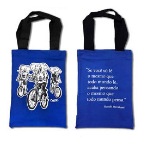 Imagem 1 de 1 de Ecobag 3d - Martins Fontes - Elefantes De Bicicleta- Azul