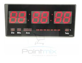 Kit 2 Relógios Parede Led Digital Gigante 46cm C X 23cm