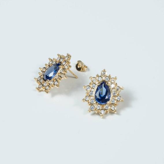 Brinco Gota De Cristal Quartzo Azul Cravejado De Zircônias S