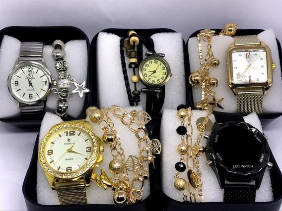 Kit Com 5x Relógio Femininos Atacado Revenda + Caixa + Pulse