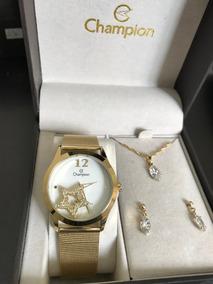 Relogio Champion Dourado Feminino Kit Ch25918w