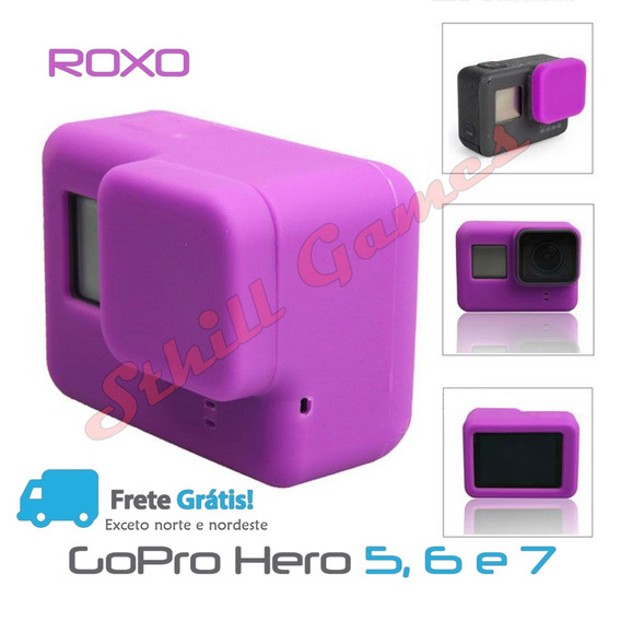 Capa Protetora + Tampa Em Silicone Gopro Hero 5,6 E 7 Violet