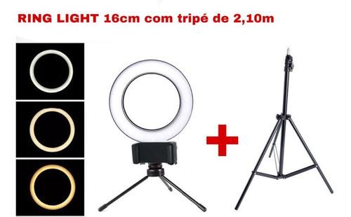 Kit Iluminaçaõ 16 Cm Hing Light Tripé Mesa + Tripé 2,10m