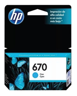 Cartucho Hp 670 Cyan Original Ink Advantage 525 5525 4615