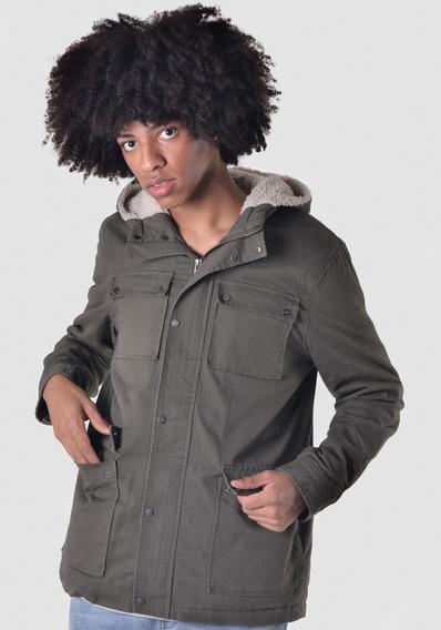 Jaqueta De Pelinho Com Capuz Verde Militar